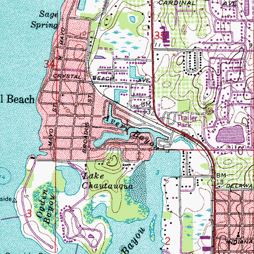 Topographic Map of Avery Bayou, FL