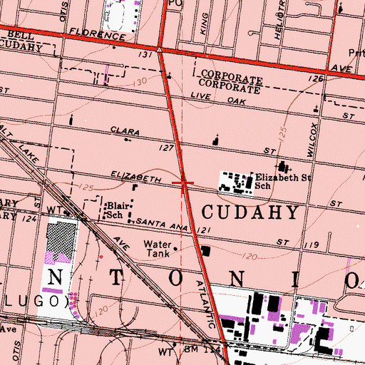 Topographic Map of Cudahy Post Office, CA