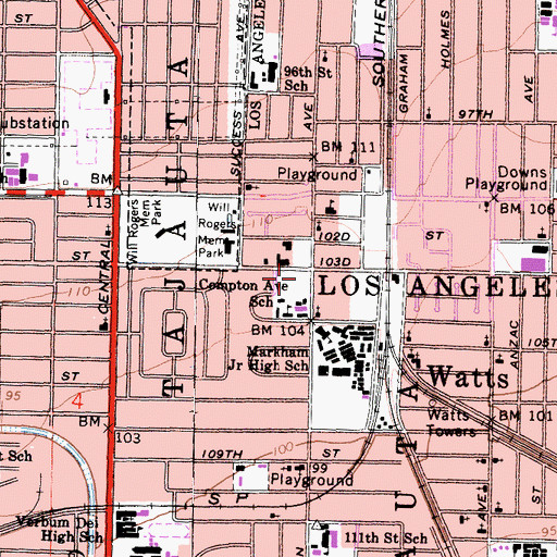 Topographic Map of Augustus F Hawkins Post Office, CA
