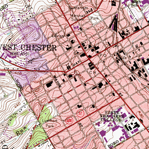 Topographic Map of Chester County Sheriff's Office, PA