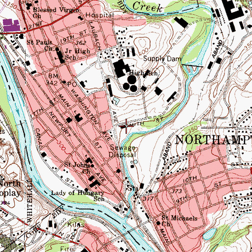 Topographic Map of Northampton Borough Police Department, PA