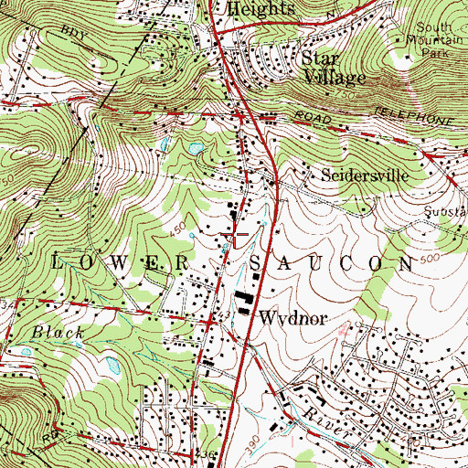 Topographic Map of Lower Saucon Township Police Department, PA