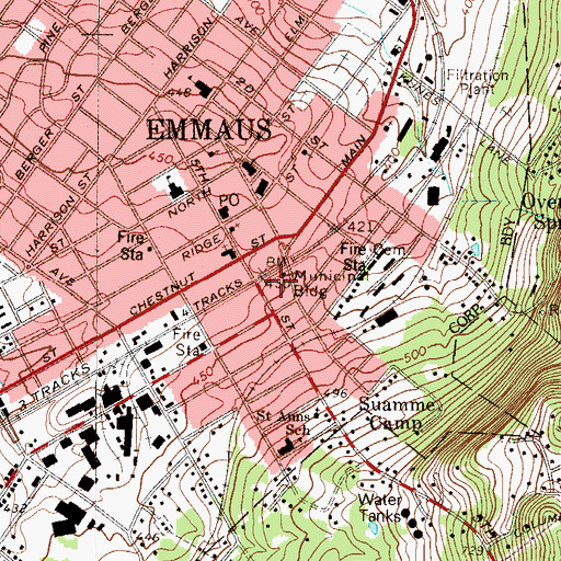 Topographic Map of Emmaus Borough Police Department, PA