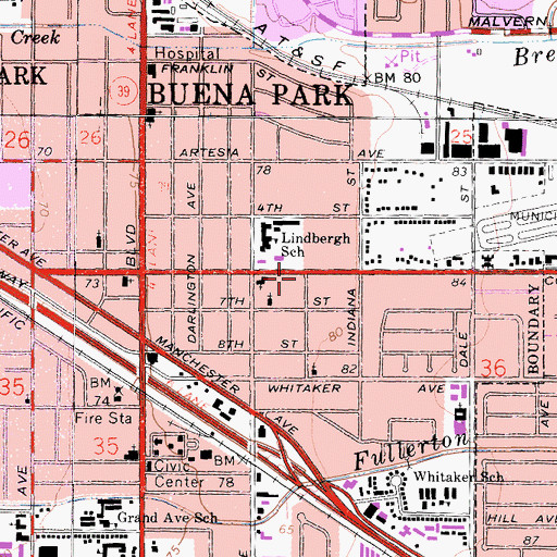 Topographic Map of Buena Park Post Office - Station A, CA