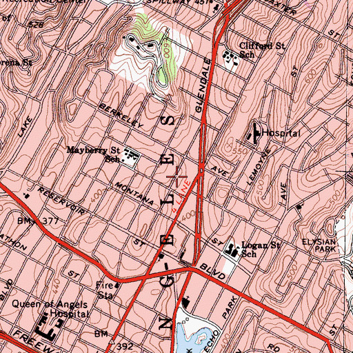 Topographic Map of Edendale Post Office, CA