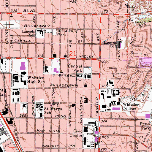 Topographic Map of Bailey Post Office, CA