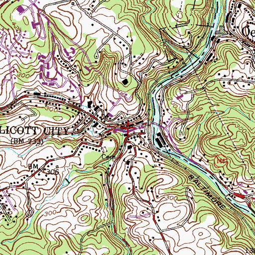 Topographic Map of New Cut Branch, MD