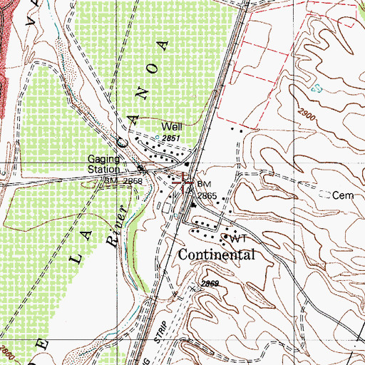 Topographic Map of Continental, AZ