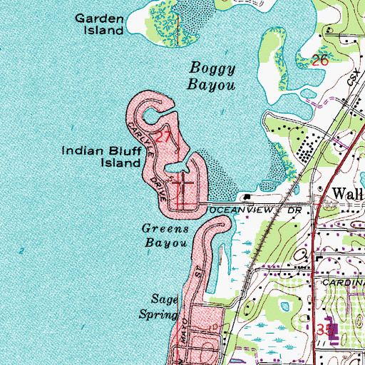 Topographic Map of Indian Bluff Island, FL