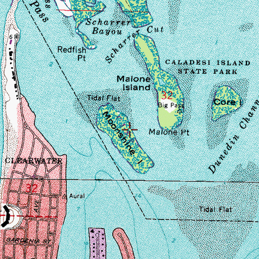 Topographic Map of Moonshine Island, FL