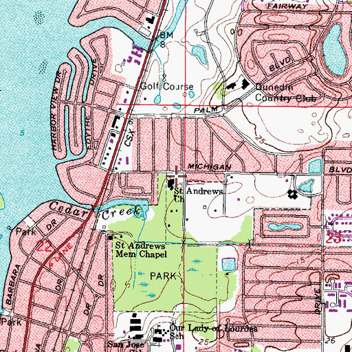 Topographic Map of Saint Andrews Church, FL