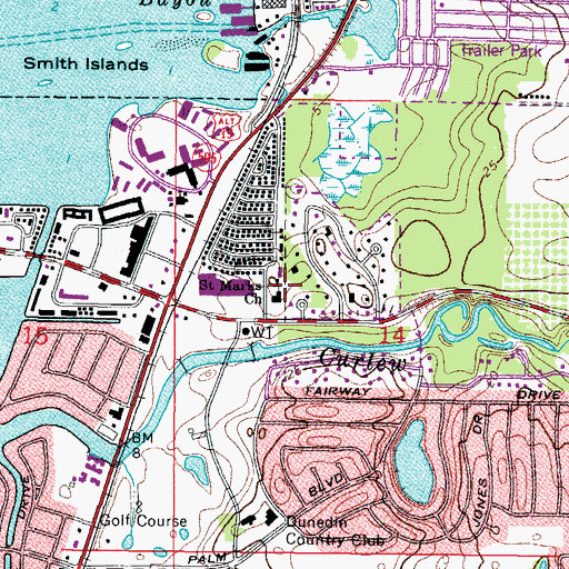 Topographic Map of Saint Marks Church, FL