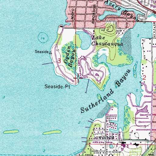 Topographic Map of Seaside Point, FL