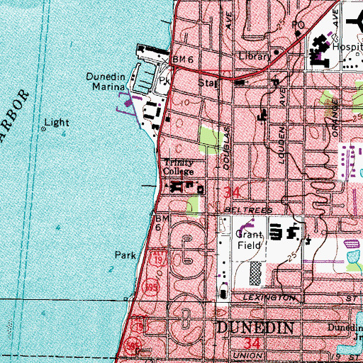 Topographic Map of Trinity College, FL