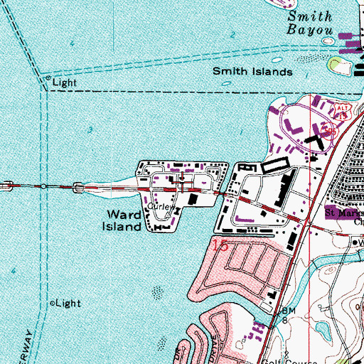 Topographic Map of Ward Island, FL