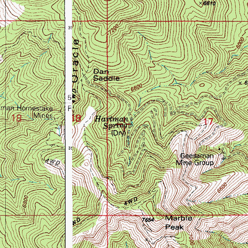 Topographic Map of Hartman Spring, AZ