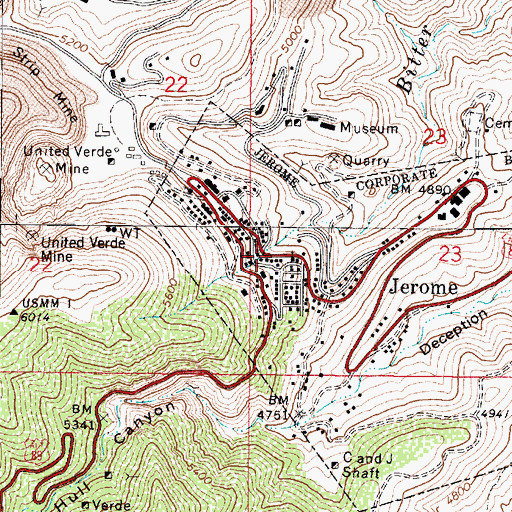 Topographic Map of Jerome, AZ