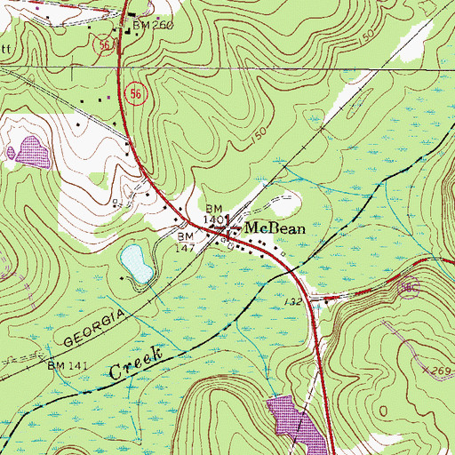 Topographic Map of McBean, GA