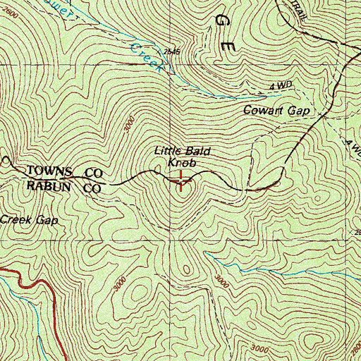 Topographic Map of Little Bald Knob, GA