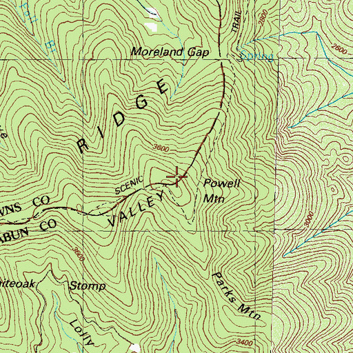 Topographic Map of Powell Mountain, GA
