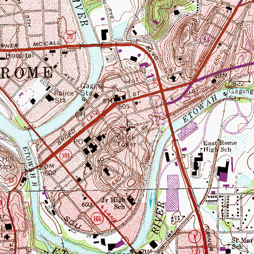 Topographic Map of Central Primary School, GA