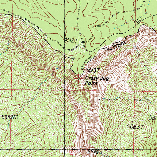 Topographic Map of Crazy Jug Point, AZ