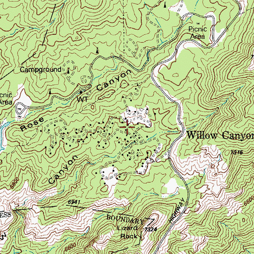 Topographic Map of Willow Canyon, AZ