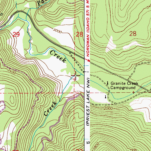 Topographic Map of Athol Creek, ID