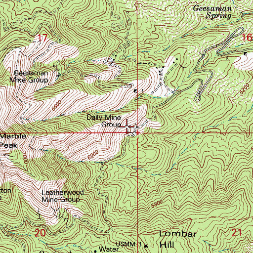 Topographic Map of Daily Mine Group, AZ