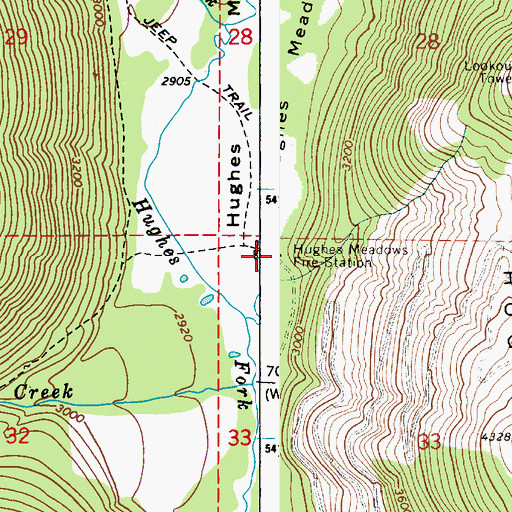 Topographic Map of Hughes Meadows Fire Station, ID