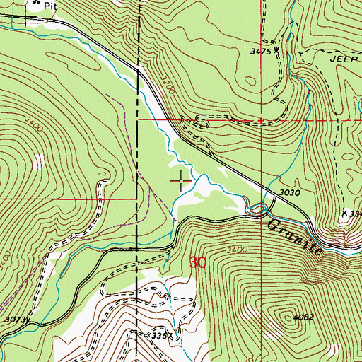 Topographic Map of North Fork Granite Creek, ID