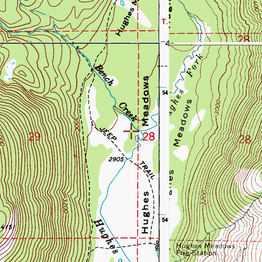 Topographic Map of Bench Creek, ID