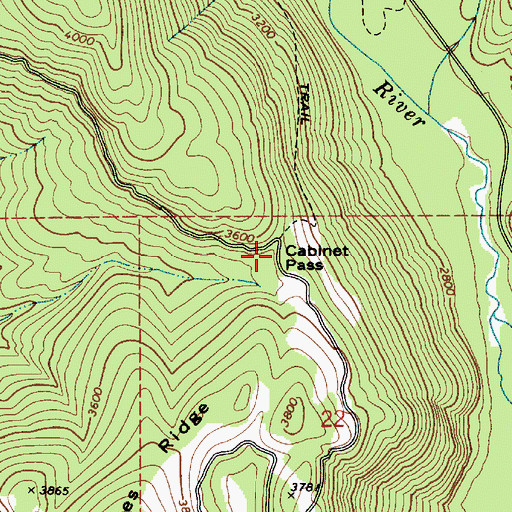 Topographic Map of Cabinet Pass, ID