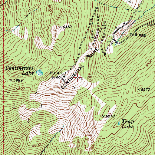 Topographic Map of Continental Mine, ID