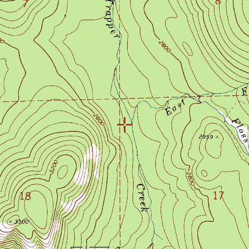 Topographic Map of East Fork Trapper Creek, ID