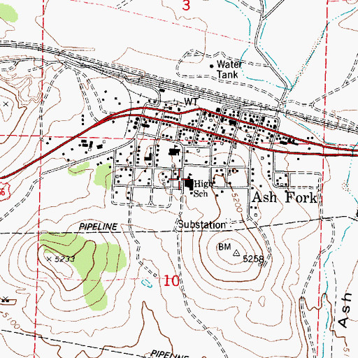 Topographic Map of Ash Fork High School, AZ
