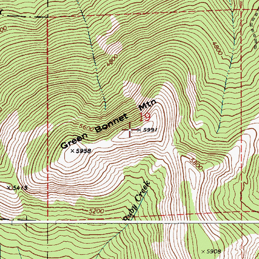 Topographic Map of Green Bonnet Mountain, ID
