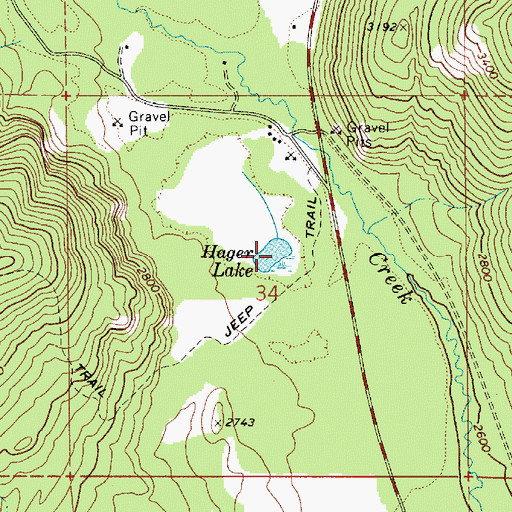 Topographic Map of Hager Lake, ID