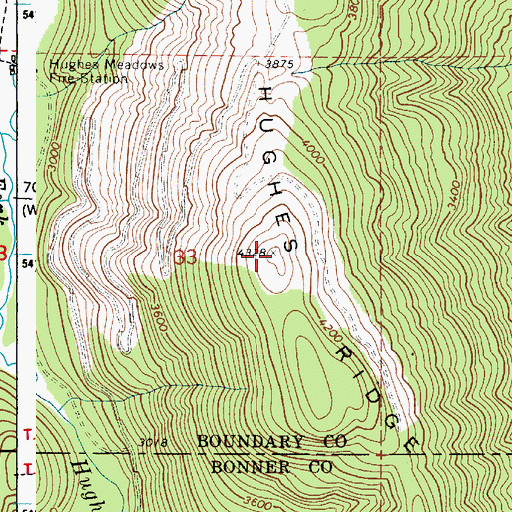 Topographic Map of Hughes Ridge, ID