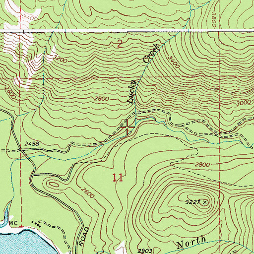 Topographic Map of Lucky Creek, ID