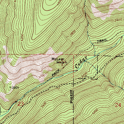 Topographic Map of McLean Mine, ID