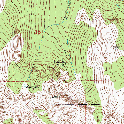Topographic Map of Parker Mine, ID