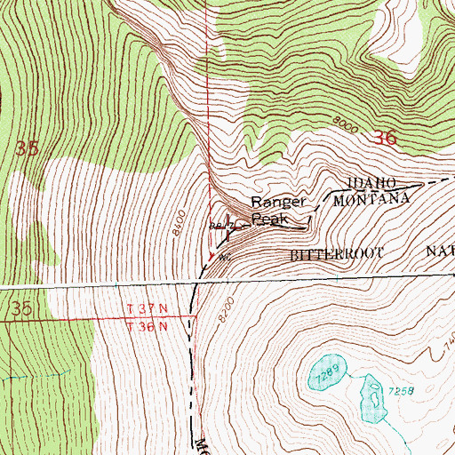 Topographic Map of Ranger Peak, ID
