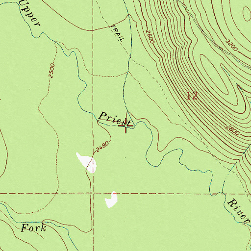 Topographic Map of Ruby Creek, ID
