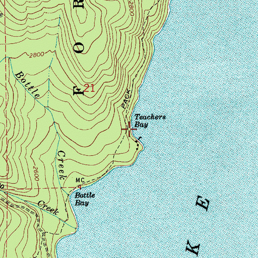 Topographic Map of Teachers Bay, ID