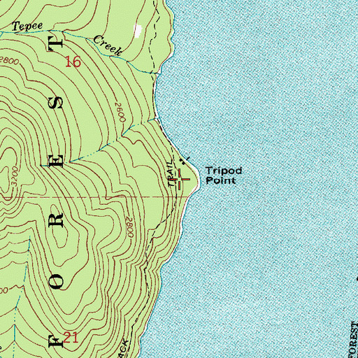 Topographic Map of Tripod Point, ID