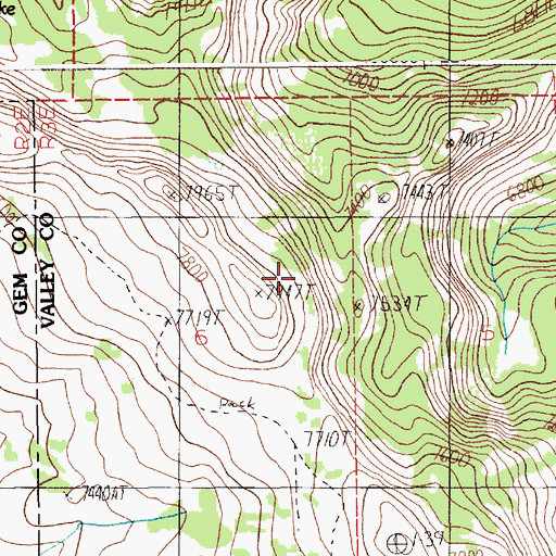 Topographic Map of Wilson Creek Trail, ID