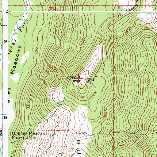Topographic Map of Hughes Ridge Viewpoint, ID