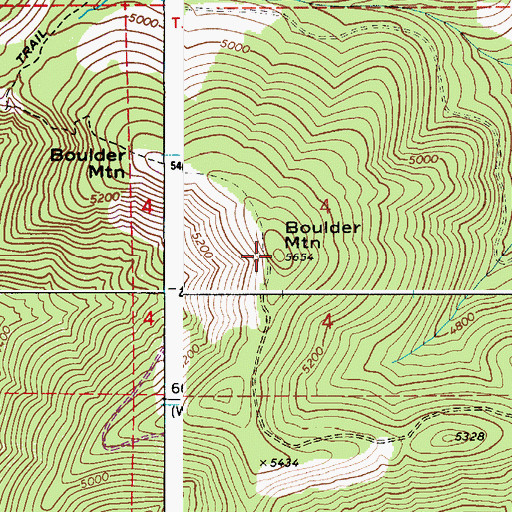 Topographic Map of Boulder Mountain, ID