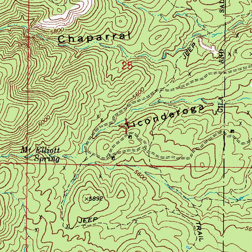 Topographic Map of Chaparral (historical), AZ